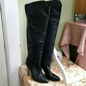 over-the-knee black leather stiletto boots